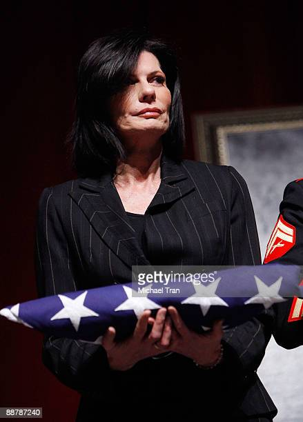 Pam McMahon onstage during Ed McMahon's memorial service hosted by NBC held at the Academy of Television Arts Sciences on July 1 2009 in North...