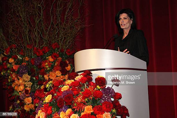 Pam McMahon speaks during Ed McMahon's memorial service hosted by NBC held at the Academy of Television Arts Sciences on July 1 2009 in North...