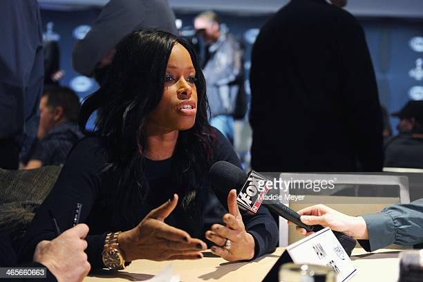 Pam Oliver analyst for FOX Sports answers questions from the press during the FOX Sports media availablility in the Empire East Ballroom at Super...