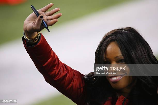 Pam Oliver analyst for FOX Sports waves before the Seattle Seahawks take on the Denver Broncos during Super Bowl XLVIII at MetLife Stadium on...