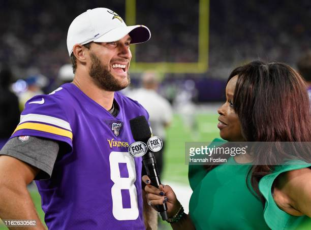 Pam Oliver interviews Kirk Cousins of the Minnesota Vikings during the second half of the preseason game against the Seattle Seahawks at US Bank...