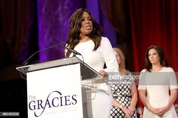 Pam Oliver speaks onstage at The Gracies presented by the Alliance for Women in Media Foundation at Cipriani 42nd Street on June 27 2018 in New York...