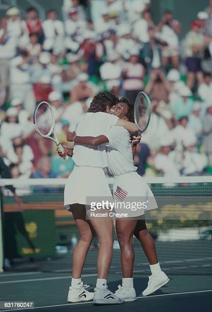 Pam Shriver and Zina Garrison celebrate during a tennis Women's Doubles match at the Olympic Games in Seoul South Korea September 1988 The pair won...