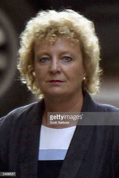 Pam Teare head of the British Ministry of Defence Press Office arrives to give evidence at the Hutton inquiry at the High Court on August 18 2003 in...