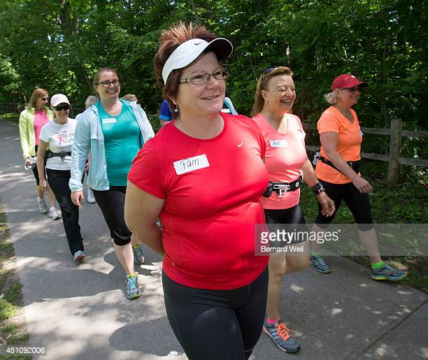 TORONTO ON JUNE 21 Pam Vallis takes part in a walk with John Stanton founder of the Running Room who spoke to a group at the Beaches location store...