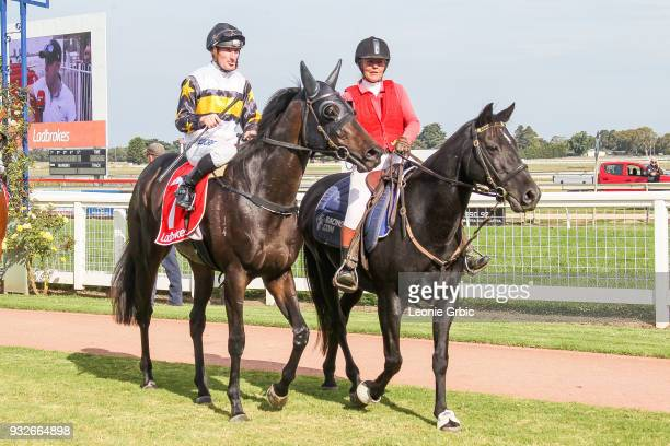 Pamando ridden by Daniel Stackhouse returns after winning the Ladbrokes Call Me BM58 Handicap at Sale Racecourse on March 16 2018 in Sale Australia