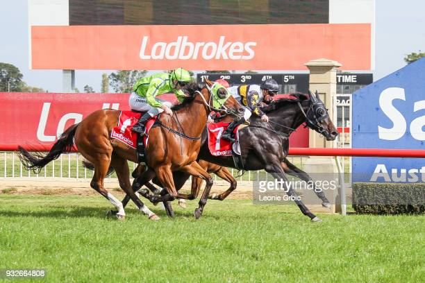 Pamando ridden by Daniel Stackhouse wins the Ladbrokes Call Me BM58 Handicap at Sale Racecourse on March 16 2018 in Sale Australia