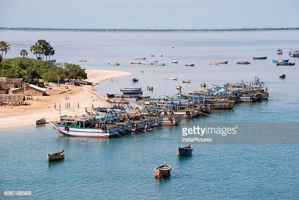 Pamban fisherman's village with fishing boats