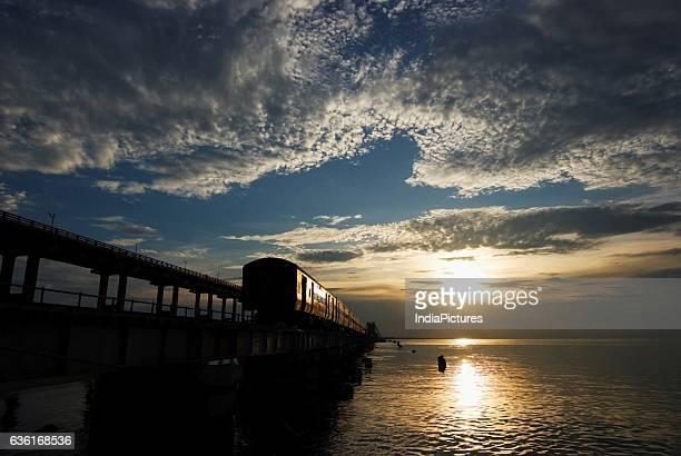 Pamban Railway Bridge At Sunset