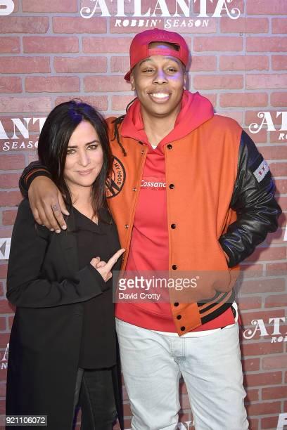 Pamela Adlon and Lena Waithe attend FX's 'Atlanta Robbin' Season' Premiere Arrivals at Ace Theater Downtown LA on February 19 2018 in Los Angeles...