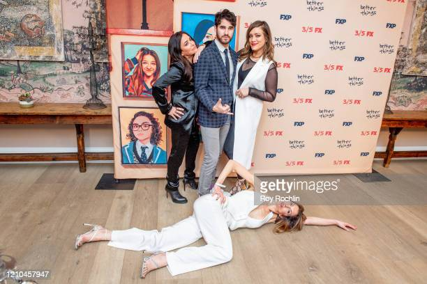 Pamela Adlon Darren Criss Mia Von Criss and Alysia Reiner attend FX's Better Things Season 4 Premiere at the Whitby Hotel on March 04 2020 in New...