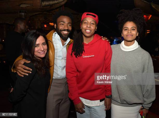 Pamela Adlon Donald Glover Lena Waithe and Zazie Beetz attend the after party for the premiere of FX's 'Atlanta Robbin' Season' at The Theatre at Ace...