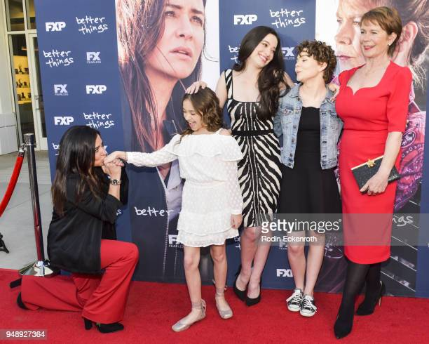 Pamela Adlon Olivia Edward Mikey Madison Hannah Alligood and Celia Imrie attend the FYC event for FX's Better Things at Saban Media Center on April...