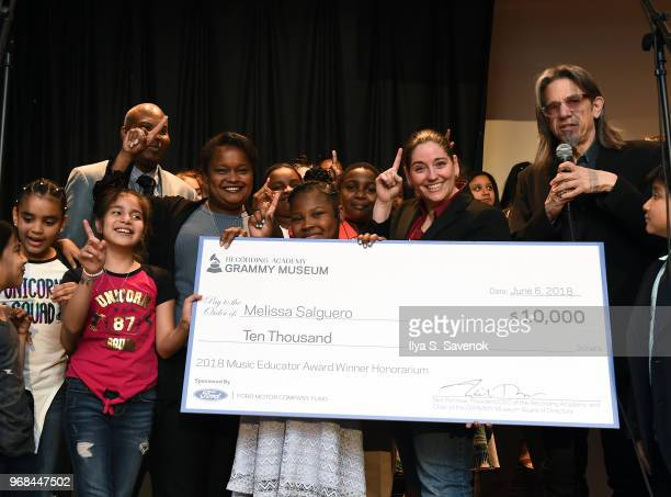 Pamela Alexander Melissa Salguero Scott Goldman and Nick Cucci pose during 2018 Music Educator Award Winner Check Presentation on June 6 2018 in...