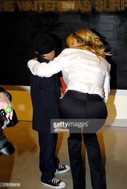 Pamela Anderson and Brandon Anderson Lee during Richard Prince Check Paintings at Gagosian Gallery in Beverly Hills California United States