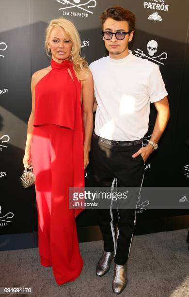 Pamela Anderson and Brandon Thomas Lee attend Shepherd Conservation Society's 40th Anniversary Gala For The Oceans at Montage Beverly Hills on June...