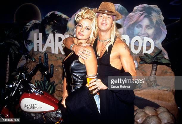 Pamela Anderson and Bret Michaels of Poison at Harley Davidson Cafe New York October 7 1994