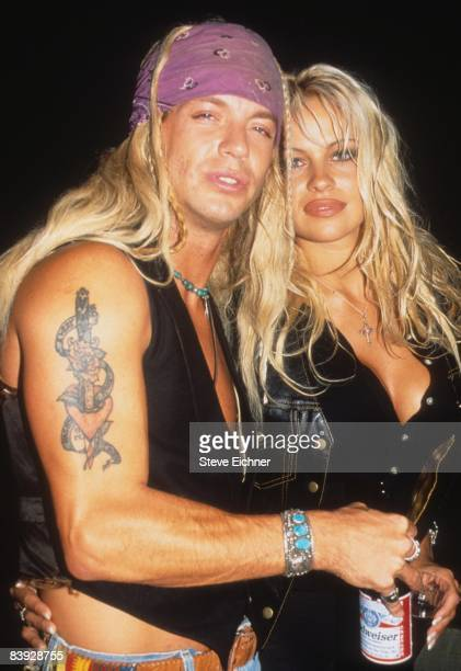 Pamela Anderson and Bret Michaels of the band Poison attend a party at New York's Webster Hall 1994