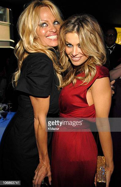 Pamela Anderson and Carmen Electra during 14th Annual Elton John AIDS Foundation Oscar Party Cohosted by Audi Chopard and VH1 Inside at Pacific...