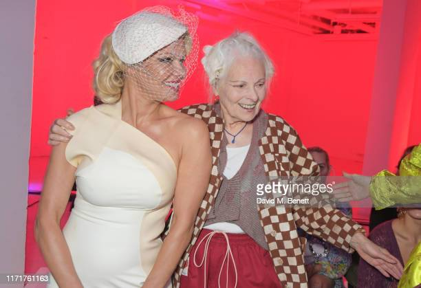 Pamela Anderson and Dame Vivienne Westwood attend the Andreas Kronthaler For Vivienne Westwood Womenswear Spring/Summer 2020 show as part of Paris...