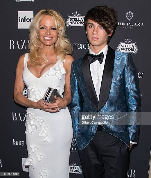Pamela Anderson and Dylan Jagger Lee attend Harper's BAZAAR Celebrates 'ICONS By Carine Roitfeld' at The Plaza Hotel on September 9 2016 in New York...