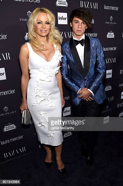 Pamela Anderson and Dylan Jagger Lee attend Harper's Bazaar's celebration of ICONS By Carine Roitfeld presented by Infor Laura Mercier and Stella...