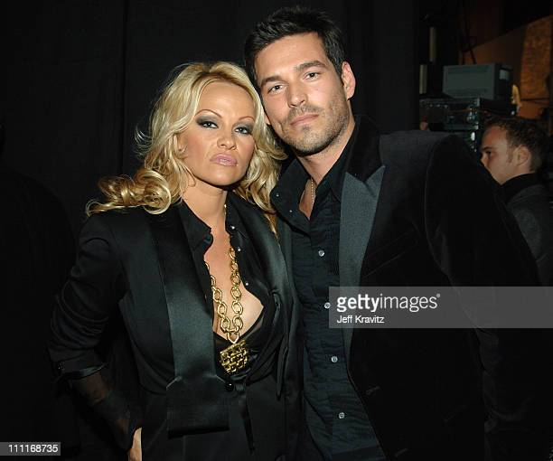 Pamela Anderson and Eddie Cibrian during 33rd Annual American Music Awards Backstage at Shrine Auditorium in Los Angeles California United States