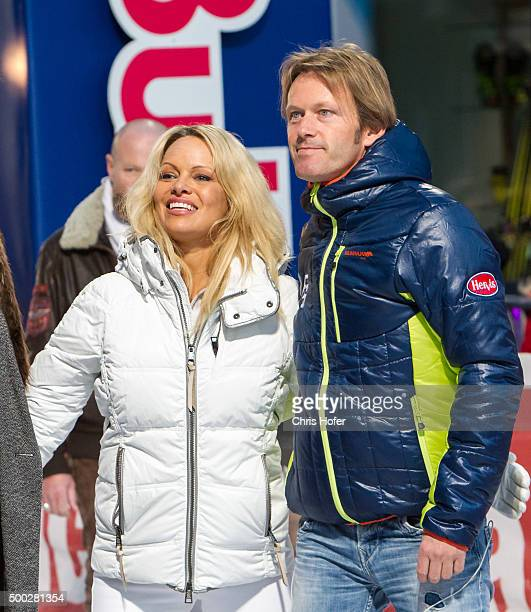 Pamela Anderson and event promoter Andy Wernig during the third and final day of the Formula Snow 2015 ski opening on December 5 2015 in...