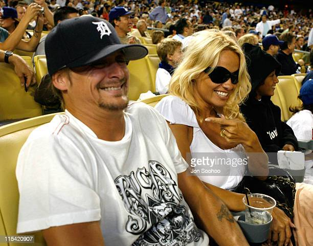 Pamela Anderson and husband Kid Rock during the Los Angeles Dodgers vs Cincinnati Reds Monday August 282006 in Los AngelesCalifornia