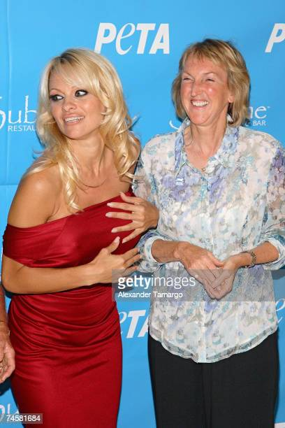 Pamela Anderson and Ingrid E. Newkirk arrive at Sublime restaurant where PETA hosted Pamela Anderson's 40th birthday on June 12, 2007 in Ft....