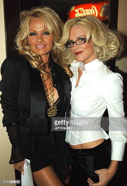Pamela Anderson and Jenny McCarthy during 33rd Annual American Music Awards Backstage at Shrine Auditorium in Los Angeles California United States