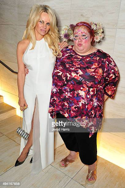 Pamela Anderson and Sharon Gault attend Flaunt Magazine and Luisaviaroma celebrate the contributors' launch of the CALIFUK issue at Milk Studios on...