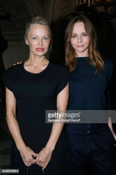 Pamela Anderson and Stylist Stella McCartney pose after the Stella McCartney show as part of the Paris Fashion Week Womenswear Fall/Winter 2017/2018...