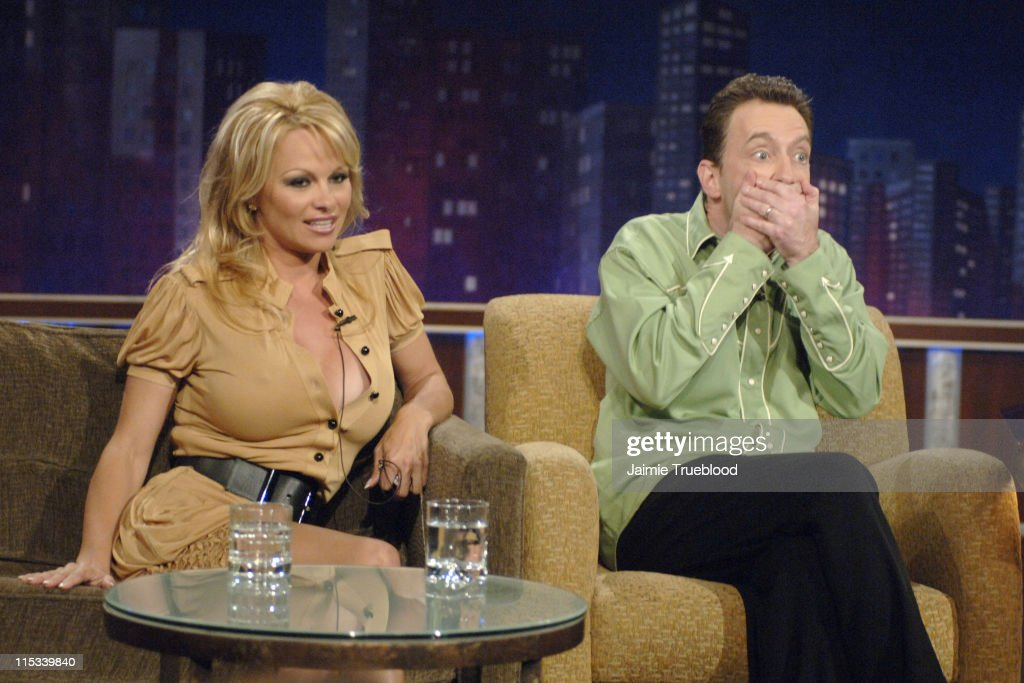 "Pamela Anderson and Tom Kenny Visit ""Jimmy Kimmel Live"" - May 9, 2005"