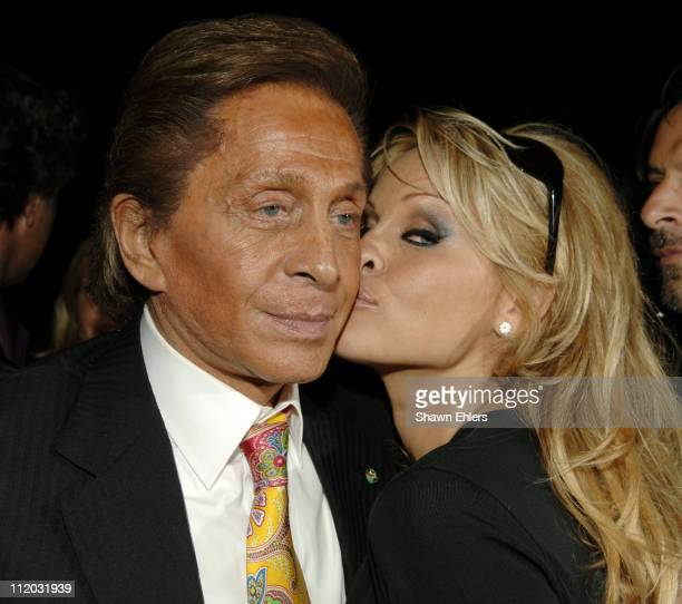 Pamela Anderson and Valentino Garavani during Valentino Fragrance Launch Valentino V at the Four Seasons at Four Seasons Restaurant in New York City...