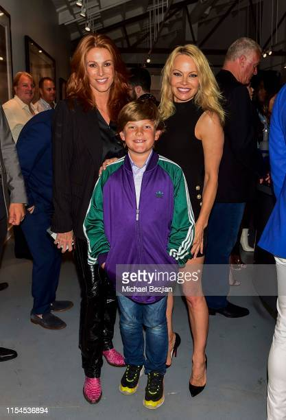 Pamela Anderson Angie Everhart and Kayden Bobby Everhart attend Maddox Gallery Los Angeles Presents Pamela Anderson by David Yarrow at Maddox Gallery...