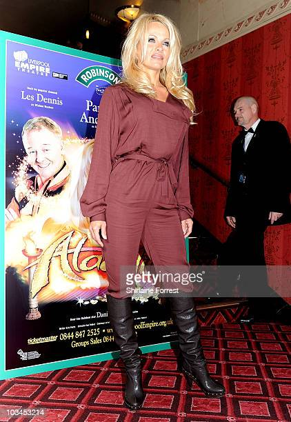 Pamela Anderson announces her role as The Genie in this year's Aladdin at Liverpool Empire Theatre on August 19 2010 in Liverpool England