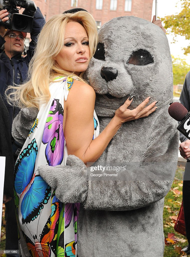 Pam Anderson Appears With Baby Seal To Unveil New Peta Campaign : News Photo