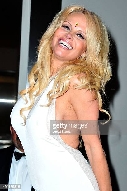 Pamela Anderson attends Flaunt Magazine and Luisaviaroma celebrate the contributors' launch of the CALIFUK issue at Milk Studios on October 24 2015...
