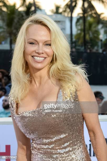 Pamela Anderson attends Paramount Pictures' World Premiere of 'Baywatch' on May 13 2017 in Miami Florida