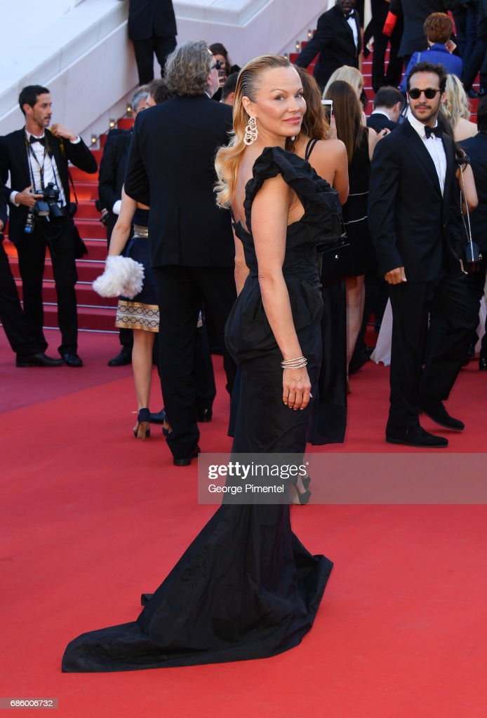 Pamela Anderson attends the '120 Beats Per Minute (120 Battements Par Minute)' screening during the 70th annual Cannes Film Festival at Palais des Festivals on May 20, 2017 in Cannes, France.