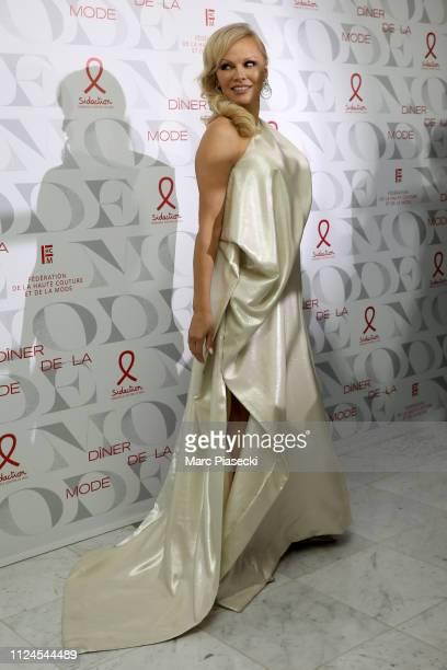 Pamela Anderson attends the 17th Diner De La Mode as part of Paris Fashion Week on January 22 2019 in Paris France