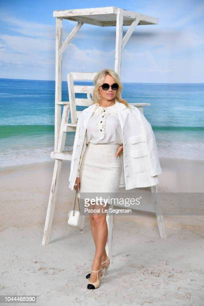 Pamela Anderson attends the Chanel show as part of the Paris Fashion Week Womenswear Spring/Summer 2019 on October 2 2018 in Paris France