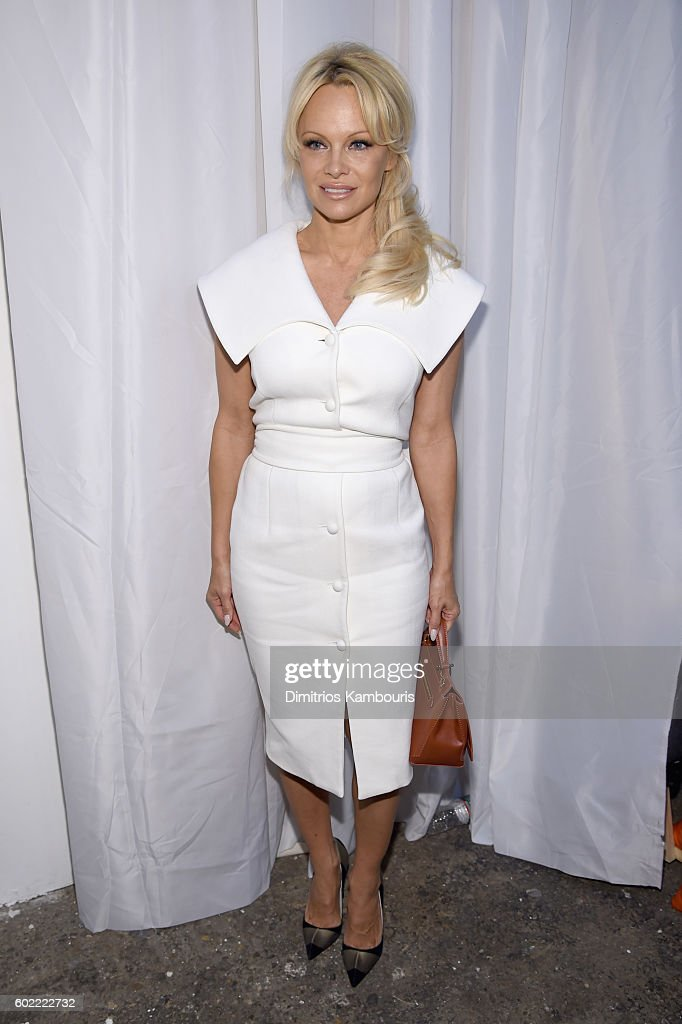 Pamela Anderson attends the Christian Siriano fashion show during New York Fashion Week: The Shows at ArtBeam on September 10, 2016 in New York City.