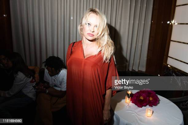 Pamela Anderson attends the cocktail party hosted by Chrome Hearts X Jordan Barrett at La Maison Du Caviar on June 22 2019 in Paris France