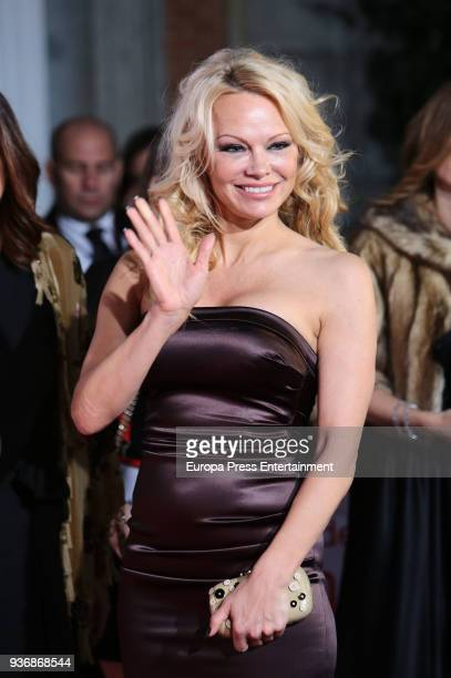 Pamela Anderson attends the Global Gift Gala 2018 presentation at the ThyssenBornemisza Museum on March 22 2018 in Madrid Spain