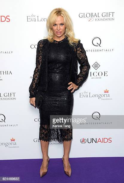 Pamela Anderson attends the Global Gift Gala in partnership with Quintessentially on November 19 2016 at the Corithinia Hotel in London United Kingdom