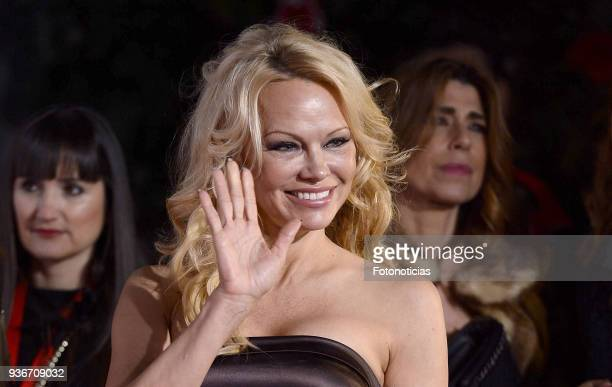 Pamela Anderson attends the III Global Gift Gala at the ThyssenBornemisza Musseum on March 22 2018 in Madrid Spain