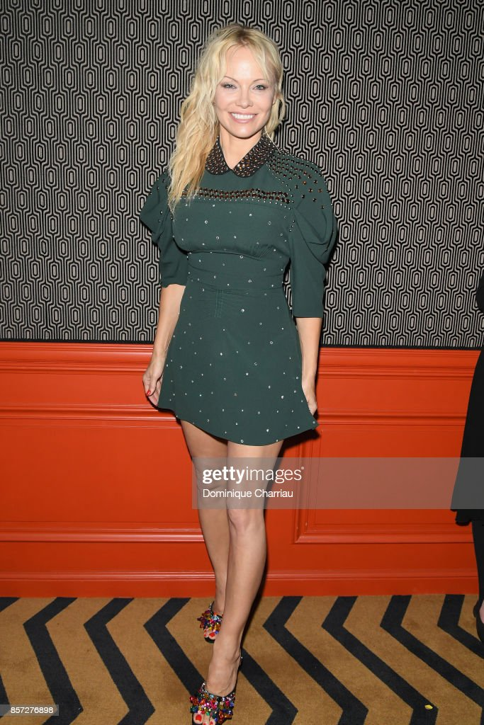 Pamela Anderson attends the Miu Miu aftershow party as part of the Paris Fashion Week Womenswear Spring/Summer 2018 at Boum Boum on October 3, 2017 in Paris, France.