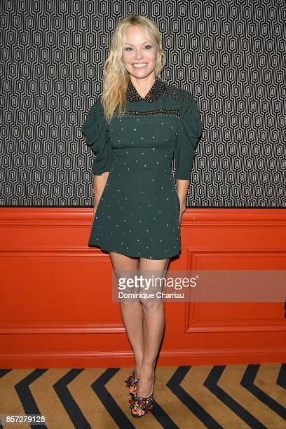 Pamela Anderson attends the Miu Miu aftershow party as part of the Paris Fashion Week Womenswear Spring/Summer 2018 at Boum Boum on October 3 2017 in...